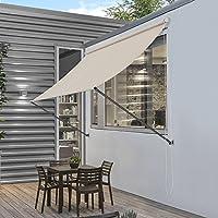 [pro.tec]® Toldo montando en la pared - Beige - 150 x 120 cm - Terraza Balcón Toldo extensible - Persiana de la ventana Exterior