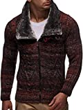 LEIF NELSON Herren Woll Strick-Jacke | Casual Strick-Hoodie Slim Fit | Moderner Männer Zip Strick-Cardigan Langarm mit Schalkragen Kleidung Männer