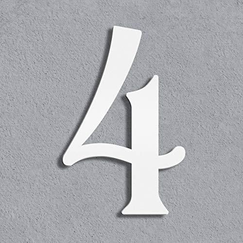 Thorwa® moderne Design Edelstahl Hausnummer Cabaletta, weiß pulverbeschichtet, H: 200mm, RAL 9003 (4)
