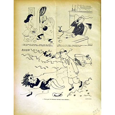 Impresión Antigua de los Hombres del Coche de Motor de las Historietas de la Revista del Humor de Le Rire French