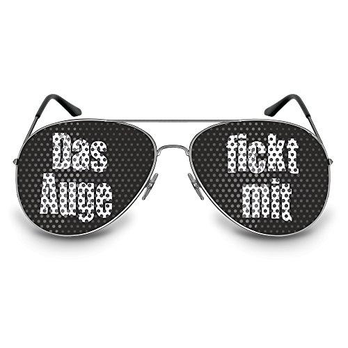 Coole Art ikel Carnevale/Carnevale Party occhiali Occhiali divertimento occhiali da sole come simpatica Accessoire decorati con motivi diversi o sprüchen, Motiv: Das Auge fickt mit / Pilot, Taglia unica