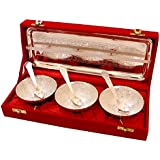 Kuber Industries Brass Tray, Bowls And Spoons Set (29 Cm X 12 Cm X 1 Cm, Silver, SRVP21)