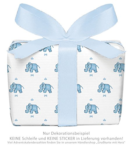 Lot de 3 feuilles de papier cadeau pour anniversaires d'enfants/anniversaire/bébé/naissance/baptême avec ELEFANT...