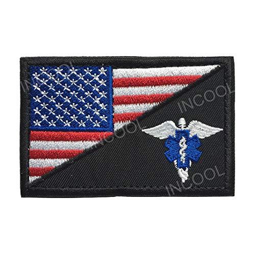 Shoppy Star American Flag Sanitäter Medic Seals Taktische Morale Stickerei Patch EMT Rettungspatch Combat Emblem Applikationen, bestickte Abzeichen: 1 -