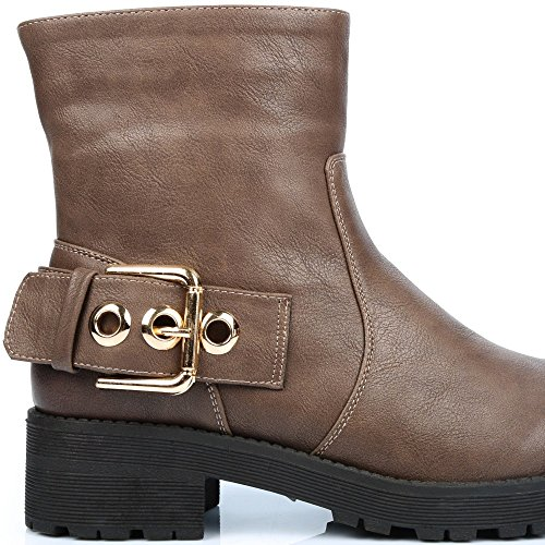 Ideal Shoes–Stiefelette Style Rangers einer geschmackvollen Lochkoppel ganaelle Taupe