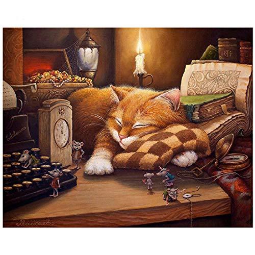 veille Chat DIY Peinture par numéro animaux peinte à la main Tableau peinture par numéros pour décoration de maison, Sleep Cat, unframed