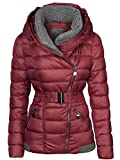 Damen Winter Jacke Gestrickte Kragen GROßE Kapuze KURZ Mantel Skijacke, Größe:XXL, Farbe:Weinrot