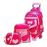 Zaini Scuola Elementare - Carina Borsa da scuola Bambini Zaino Set da 3 pezzi per ragazze Six Wheels Trolley Zaini + Borsa a tracolla + Piccola borsa a tracolla besbomig