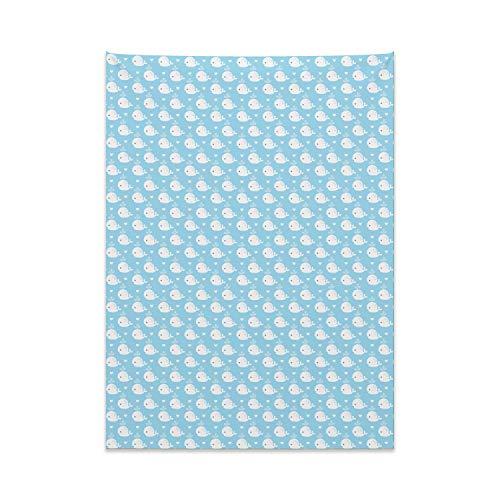 ABAKUHAUS Wal Wandteppich, Blaue Baby-Dusche-Design aus Weiches Mikrofaser Stoff Kein Verblassen Klare Farben Waschbar, 110 x 150 cm, Hellblau Weiß
