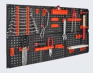 Werkzeugwand mit 19 teiligem Werkzeugbefestigungsset, Länge 80 cm x Breite 48 cm - beliebig erweiterbar