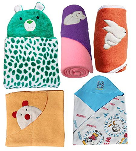 MY NEWBORN Baby Blanket & Baby Wrapper -Gift Hamper Value Pack – 5 pcs. wraps