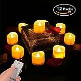 Neue Version LED Kerzen LED Tee Lichter Gelb Licht,Teelicht Kerzen Flammenlose Realistisch Flackernde with Fernbedienung Kein Timer für Camping & Outdoor und Außen(12 Stück)