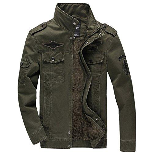 KEFITEVD Men's Winter Coat Fleece Warm Cargo Military Jacket Multi Pocket Outerwear Army Green