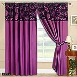 Roman Vorhang Ornament BAROCK Violett Vorhang mit Kräuselband 2 Vorhänge 230x230cm