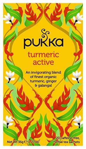 Pukka Turmeric Active, Organic Herbal Tea with Ginger & Galangal (4 Pack, 80 Tea bags)