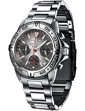 FIREFOX DESTROYER FFS01-120b sunray anthrazit Chronograph massiv Edelstahl Sicherheitsschließe Herrenuhr Armbanduhr...