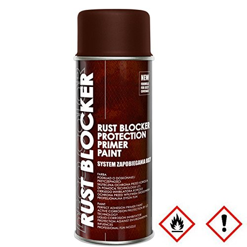 Preisvergleich Produktbild 3 Stück 400 ml Rust Blocker 4in1 Metallschutzlack Rost Stop Lack braun matt RAL 8017 18700