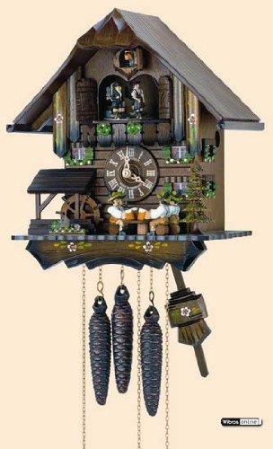 'isdd cuckoo clock-orologio cucú, motivo: casa della foresta nera con 4whiskytrinkern birra e ruota di mulino a vento si muove