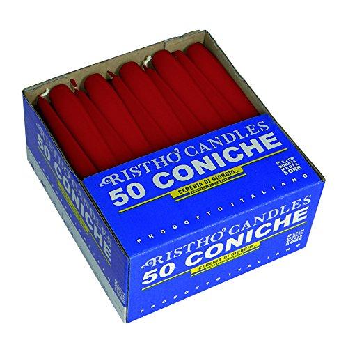 velas cónicas para candelabro (Cera, rojo, 2.2x 21cm, 50Unidad