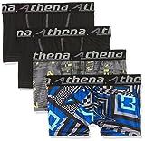Athena Jungen Badehose Arty, 4er Pack, Schwarz (Bulding/Noir/Graphic/Noir), 14 Jahre