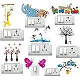 DecorVilla Vinyl PVC Animals Switch Board Wall Sticker, 33 x 25 cm, Multicolour