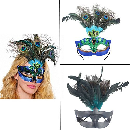 AOLVO Luxus Karnevalsmaske Venezianische Pfauen-Kostüm Maske Deko Katze Augen Maske für Frauen Mädchen Tanzen Party Ball Halloween Ball Fasching Hochzeit Requisiten