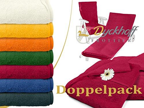 Himbeer-polster (Doppelpack zum Sparpreis - Schonbezüge für Gartenstuhl & Gartenliege aus dem Hause Dyckhoff - erhältlich in 6 sommerlichen Farben - mit Kapuze für besseren Halt, Gartenstuhl (60 x 130 cm), bordeaux)