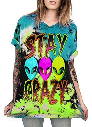 Druck Graffiti Alien T-Shirt Loose Fit Wild Verrückt Wahnsinn Tee Shirt Tops (S/M, 037 Stay Crazy) ()