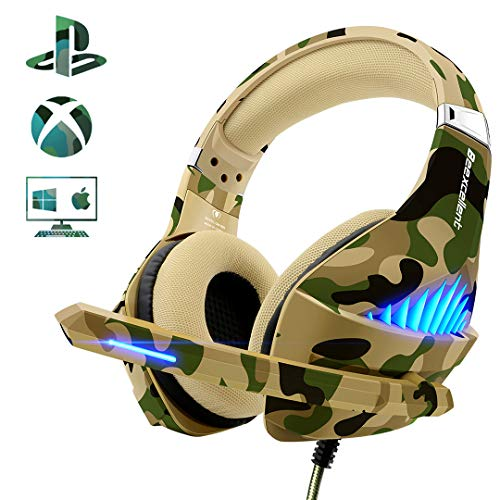 Gaming Headset für PS4 Xbox One, Beexcellent Deep Bass Gaming Kopfhörer mit Mikrofon Stereo Sound Noise Isolation und Lautstärkeregler Over-Ear Headset für PC Laptop Mac Smartphone - Grad 4 Stoff-sitz