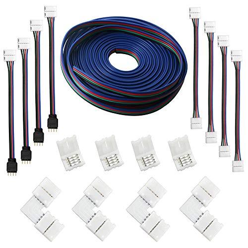 RUNCCI (5M) Cable de extensión de tira LED RGB de 4 clavijas,...