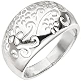 JOBO Damen Ring Blume Blumenmuster 925 Sterling Silber Silberring Größe 62