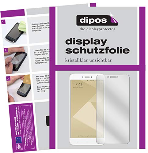 dipos I 2X Schutzfolie klar passend für Xiaomi Redmi 4X Folie Displayschutzfolie