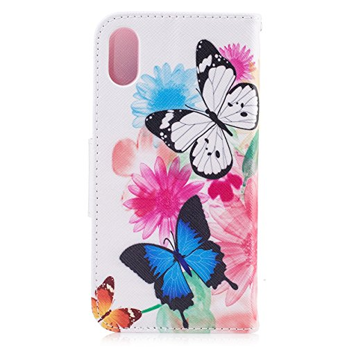 iPhone 8 Hülle iPhone 8 Case WYSTORE Bunte Muster PU Leder Bookstyle HandyHülle Tasche Flip Wallet Case Anti-Scratch Shell Cash Pouch ID Card Slot Magnetverschluss Etui Soft Silikon Back Cover Folio H A07