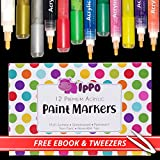 Acrylic Paint Pens with Reversible Tip: Premium Painting Markers for DIY Kit, Ceramics, Rock, Pebbles, Glass, Woods, Porcelian. Safe for Kids, Free Colouring eBook. Gifts for Teenager & Adults