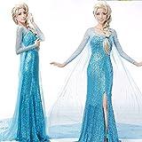 Lonely hero Damen Elegante Prinzessin Elsa Kleid mit warmer Stola Pailletten-Kleid Kostüm Cosplay Kleider -