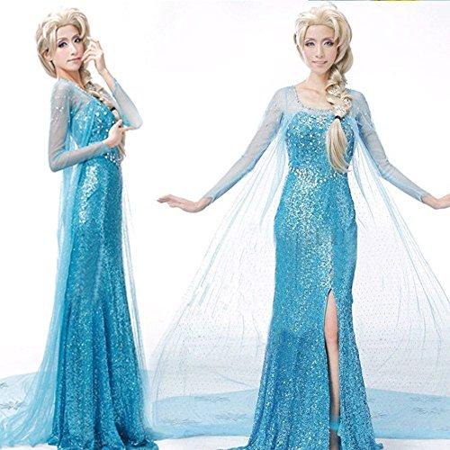 Lonely hero Damen Elegante Prinzessin Elsa Kleid mit warmer Stola Pailletten-Kleid Kostüm Cosplay Kleider - 5