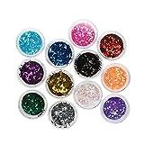 #9: Rrimin 12Pcs Colourful Women Girl Nail Art DIY Sequins Pearls Sparkles Powders Glitter Pailette Nail Decoration Manicure Beauty Tips (Small Sequins)