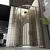 Duschkabine aus klarem Sicherheitsglas / Echtglas Dusche / 90 x 90 x 190 cm / Duschkabine / Viertelkreis / Duschabtrennung / Modell Fugo-Viertelkreis / Angebot Test