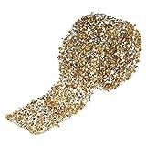 Akozon Nastri di Strass, 3 * 91cm Diamond Wrap Nastro di Strass per DIY Arti e Mestieri/Decorazione Torte/Cerimonia Nuziale/Rifornimenti del Partito(Giallo)