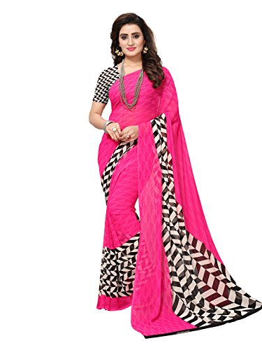 Varayu Women\'s Pink Georgette Printed Saree With Unstitched Blouse(734SJ172)