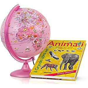 TOYLAND Tecnodidattica 46103Globo Zoo con Libro Animales, 25cm