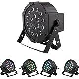 Amzdeal 18LEDs RGB DMX Bühnenlampe LED PAR Scheinwerfer Flutlicht mehrfarbig für Abend Club Disco DJ Party Konzert, schwarz