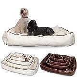 Smoothy Hundekorb aus Leder; Hunde-Körbchen; Hundebett für Luxus Vierbeiner; Beige-Weiß Größe XXL (145x100cm)