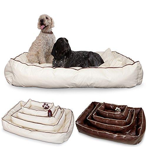 Unbekannt Smoothy Hundekorb aus Leder; Hunde-Körbchen; Hundebett für Luxus Vierbeiner; Beige-Weiß Größe XXL (145x100cm)