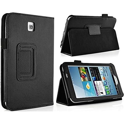 JAMMYLIZARD | Funda Folio De Piel Executive Para Samsung Galaxy TAB 3 7.0 Flip Case Cover, NEGRO
