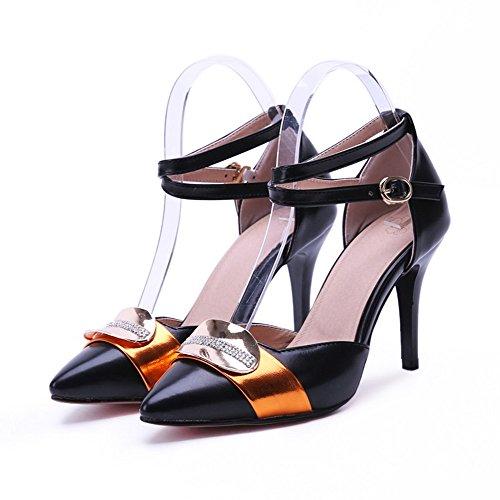 VogueZone009 Damen Stiletto Blend-Materialien Gemischte Farbe SchnallePumps Schuhe Schwarz