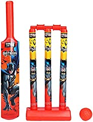 Zitto Batman Mini Cricket Set with 1 Plastic Bat and Ball, 3 Wickets, Base and Bail, Multicolour