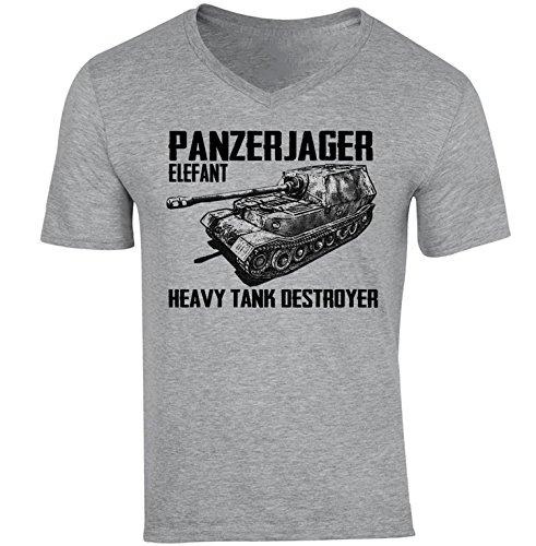 teesquare1st Panzerjager Elefant Camiseta Gris para Hombre de Algodon Size Xxlarge