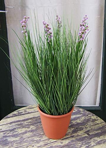 Licht & Grün exclusive Kunstpflanzen Künstliches Gras – Grasbusch mit Blüten, Spitzenprodukt