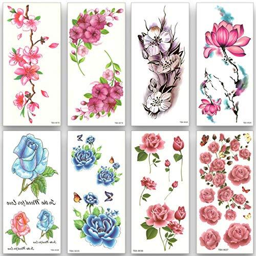 Mrkal tatuaggio temporaneo impermeabile tatuaggi temporanei trasferimento dell'acqua adesivi colorati fiore bellezza salute corpo braccio art donne ragazza trucco sexy 9x19cm